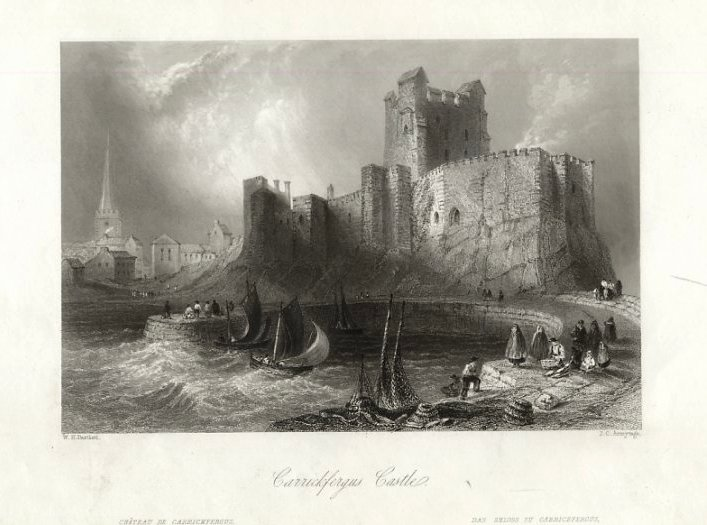 Carrickfergus castle by Thomas Allom (1804-1872, United Kingdom)