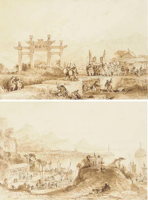 China - lake see-hoo, and temple of the thundering winds from the vale of tombs by Thomas Allom (1804-1872, United Kingdom)