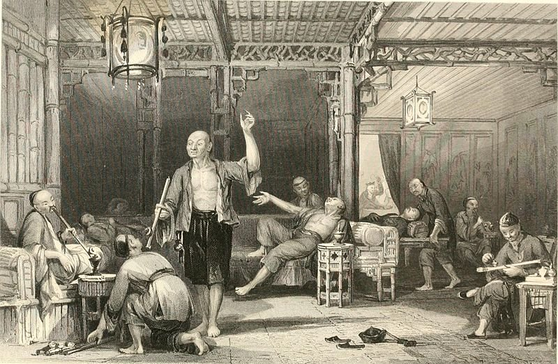 Chinese opium smokers by Thomas Allom