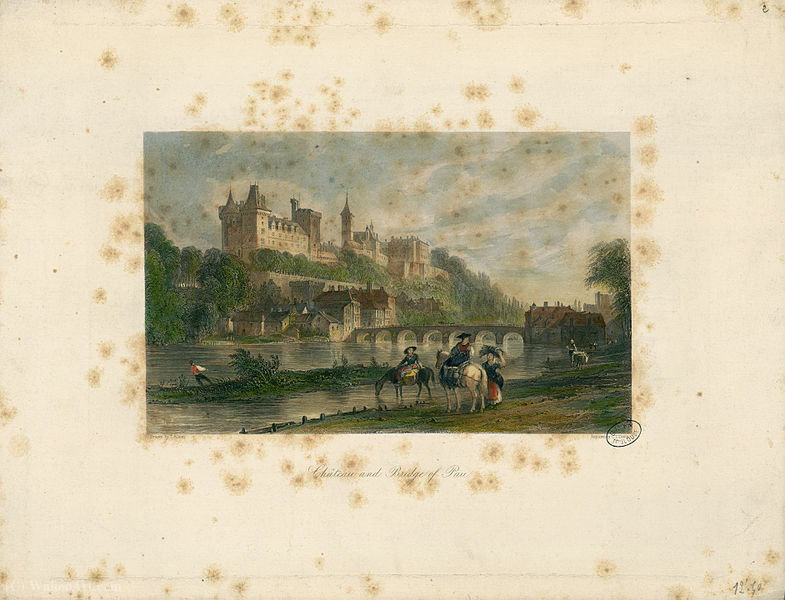 Château and bridge of Pau by Thomas Allom