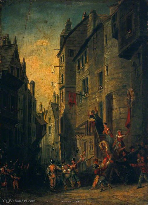 Condemned Covenanters on Their Way to Execution in the West Bow, Edinburgh by Thomas Allom