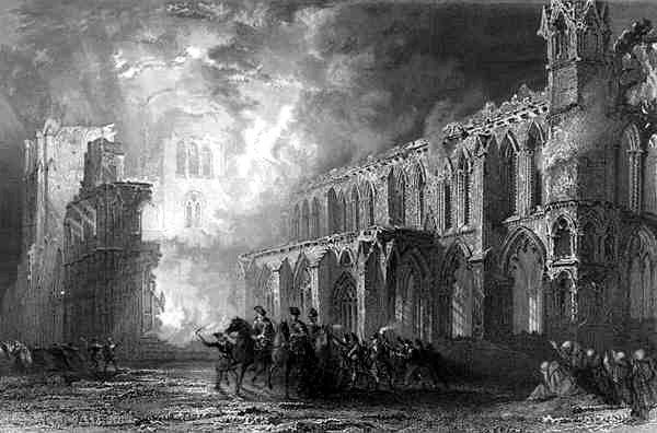 Destruction of Elgin Cathedral by Thomas Allom