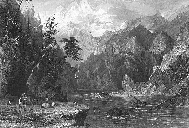 Gangotri, ganges river by Thomas Allom (1804-1872, United Kingdom)
