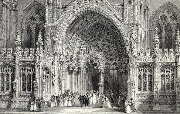 Lincoln Cathedral Entrance E.Challis after a picture by Thomas Allom