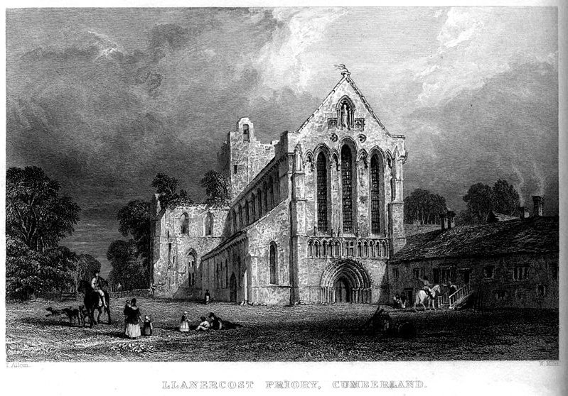 Llanercost Priory, Cumberland engraving by Thomas Allom