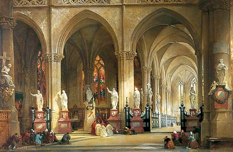 The Church of St Jacques, Antwerp by Thomas Allom (1804-1872, United Kingdom)