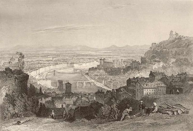 The hill of the Croix-Rousse. by Thomas Allom