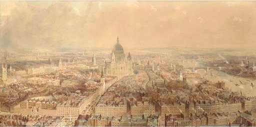 View of london from the steeple of st bride's church, fleet street looking towards st paul's cathedral by Thomas Allom