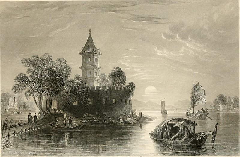 Yellow pagoda fort by Thomas Allom