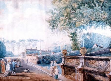 The Gardens of the Palazzo Doria Pamphili, Rome by Abraham-Louis-Rodolphe Ducros (1748-1810, Switzerland) | Painting Copy | ArtsDot.com