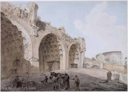 View in the Roman Forum by Abraham-Louis-Rodolphe Ducros (1748-1810, Switzerland) | Museum Quality Reproductions | ArtsDot.com