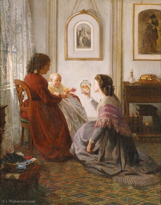 The Shattuck Family, with Grandmother, Mother and Baby William by Aaron Draper Shattuck (1832-1928, United Kingdom)
