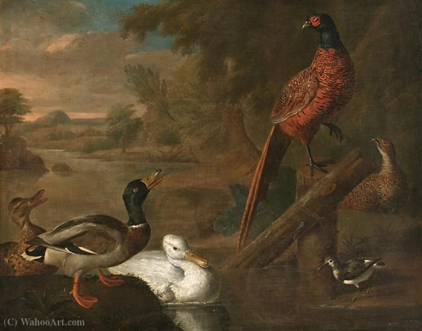 Birds in a landscape by Abraham Bisschop (1670-1729, Netherlands)