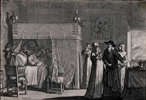Abraham Bosse - A dying man lies in bed realiz..