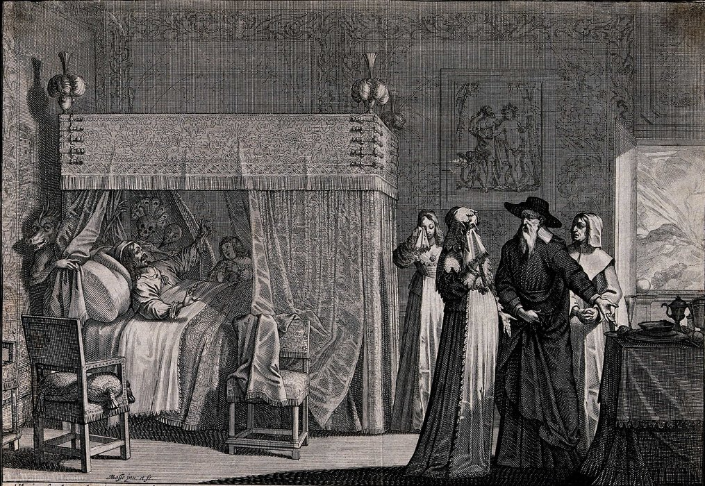 A dying man lies in bed realizing that the doctor cannot cur by Abraham Bosse (1604-1676, France)