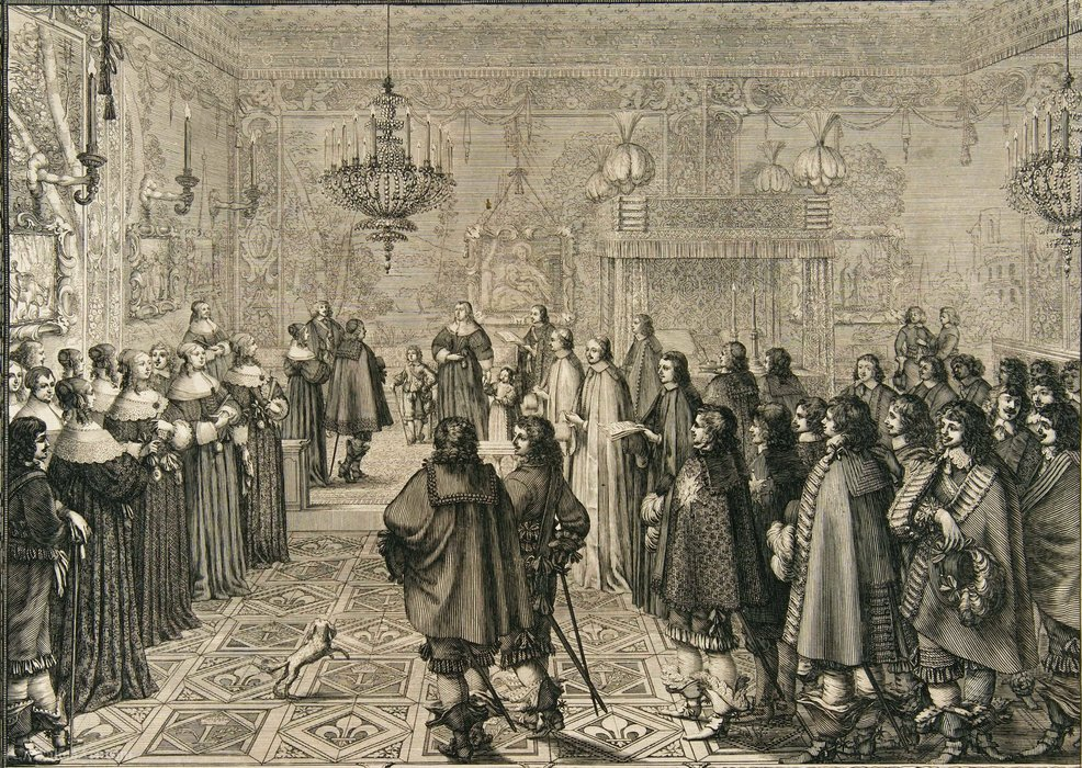 Ceremony passing the marriage contract of Władysław IV and Marie Louise Gonzaga at Fontainebleau. by Abraham Bosse (1603-1676, France)