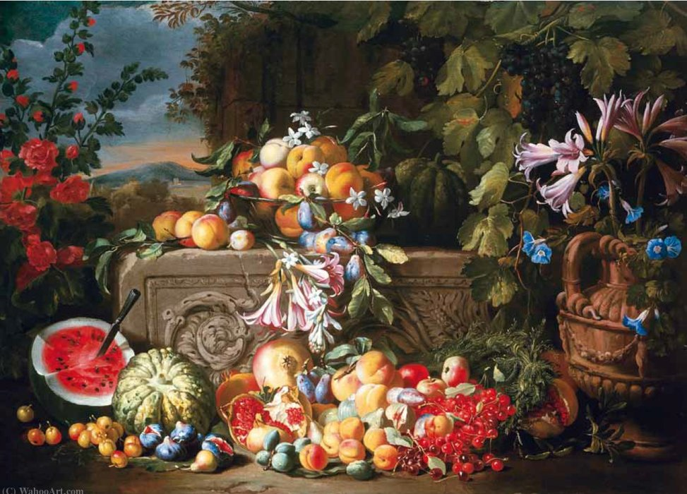 A still life of fruit and flowers on an acanthus stone relief by Abraham Brueghel (1631-1690, Belgium)