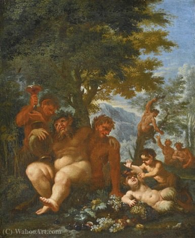 Landscape with Silenus and Putti by Abraham Brueghel (1631-1690, Belgium)