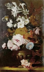 Abraham Brueghel - Roses, jasmine, primroses and other flowers in an urn on a table top