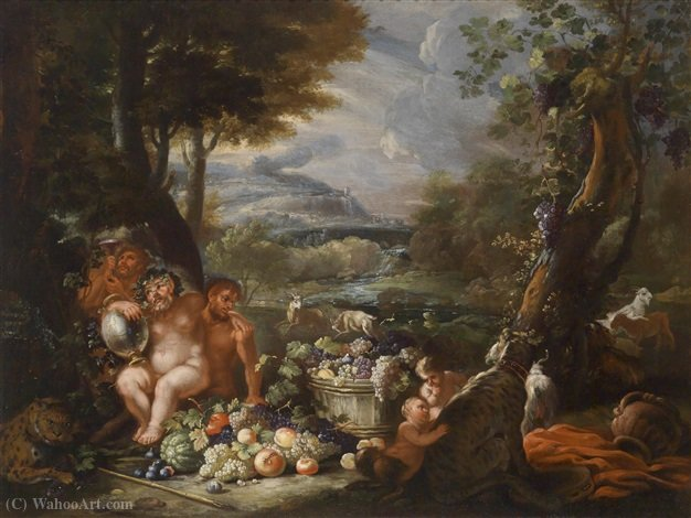 Silen with centaurs, leopards and a fruit-filled tub in front of a wide river landscape by Abraham Brueghel (1631-1690, Belgium) | Oil Painting | ArtsDot.com