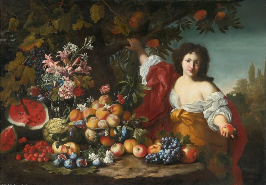 Still life of fruits and flowers with a figure by Abraham Brueghel (1631-1690, Belgium)