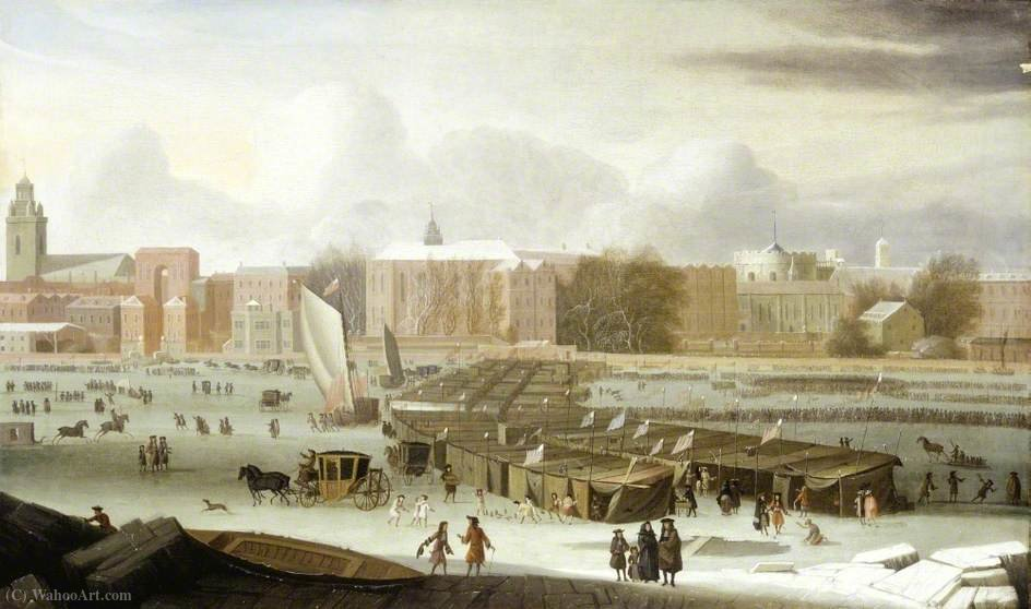 A Frost Fair on the Thames at Temple Stairs, London by Abraham Danielsz Hondius (1631-1691, Netherlands)