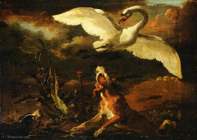 Hounds Putting up a Swan by Abraham Danielsz Hondius (1625-1691, Netherlands)