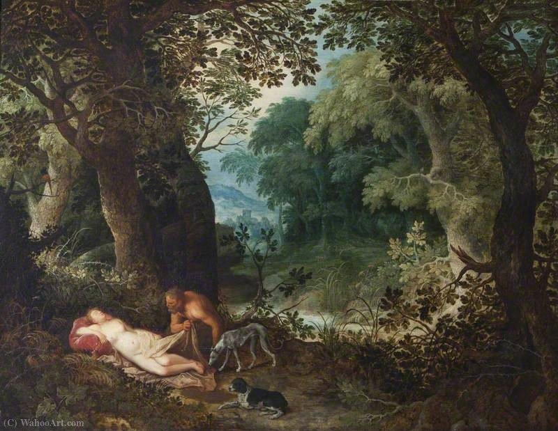 A Nymph and Satyr by Abraham Govaerts (1589-1626, Belgium)