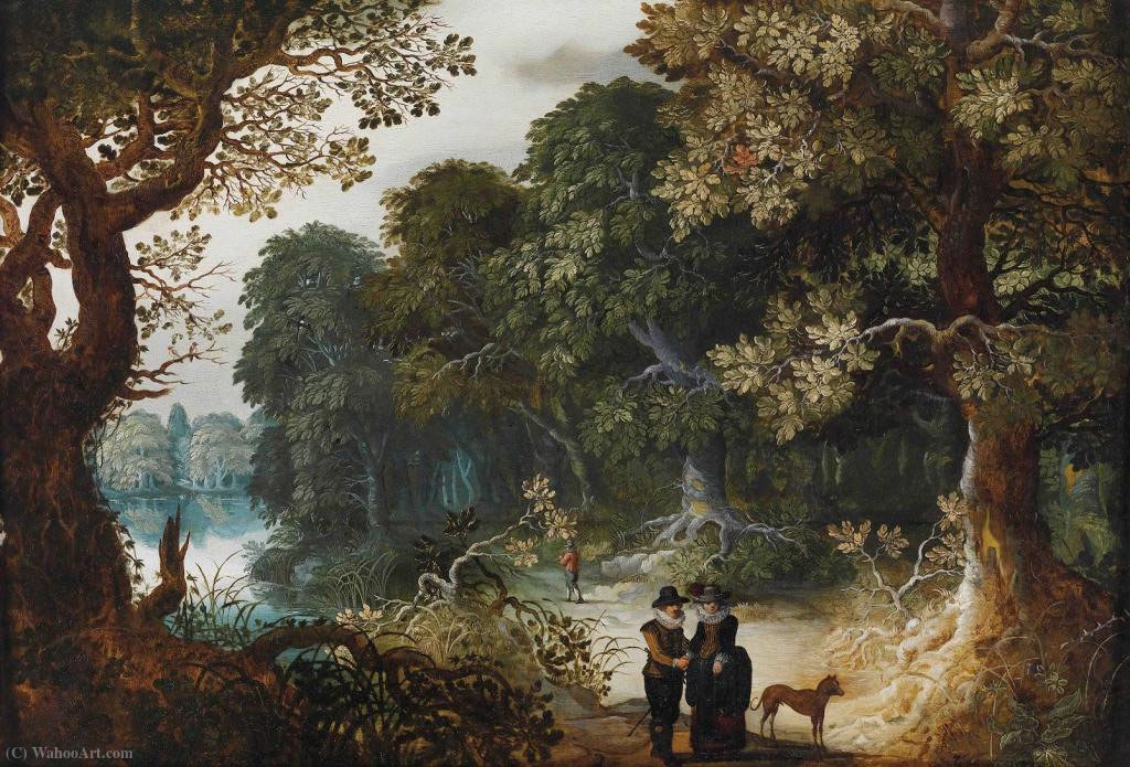 An elegant couple strolling through the forest by Abraham Govaerts (1589-1626, Belgium) | Oil Painting | ArtsDot.com