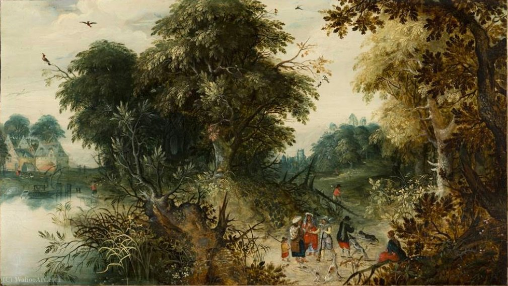 Forest View with Travellers by Abraham Govaerts (1589-1626, Belgium)