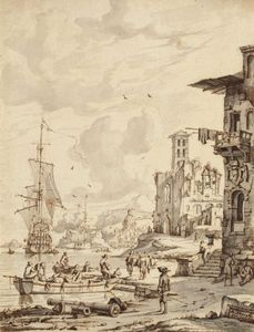 Abraham Storck (Sturckenburch) - Boats and characters at the entrance of a port, the dome of a church in the background