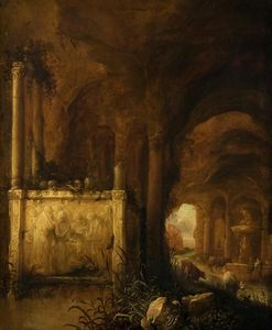 Abraham Van Cuylenborch - A Tomb in a Grotto