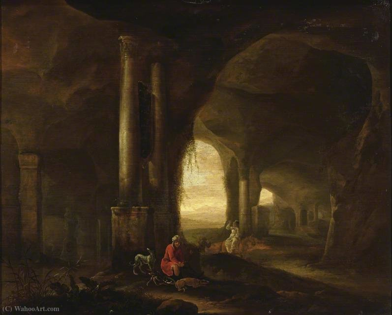 Grotto with Figures by Abraham Van Cuylenborch (1620-1658, Netherlands) | Paintings Reproductions Abraham Van Cuylenborch | ArtsDot.com