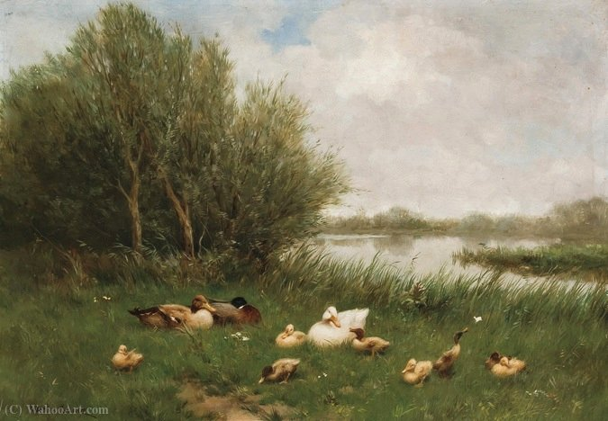 A Brace of Mallards by Adolph Artz (David Adolf Constant Artz) (1837-1890, Netherlands)