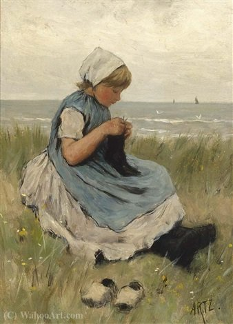 A girl knitting in the dunes by Adolph Artz (David Adolf Constant Artz) (1837-1890, Netherlands)