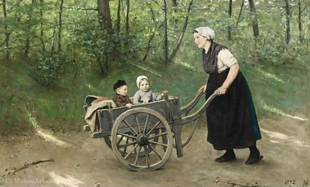 A stroll in the pushcart by Adolph Artz (David Adolf Constant Artz) (1837-1890, Netherlands)