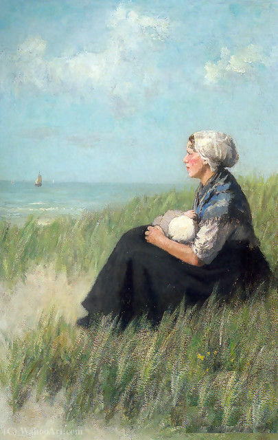 Mother and Child in the Dunes by Adolph Artz (David Adolf Constant Artz) (1837-1890, Netherlands)