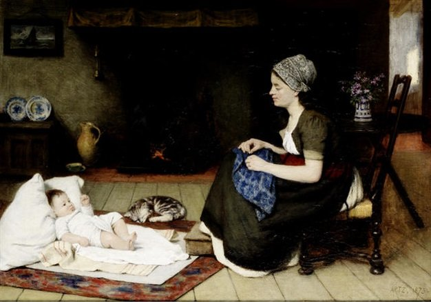 Motherhood by Adolph Artz (David Adolf Constant Artz) (1837-1890, Netherlands)