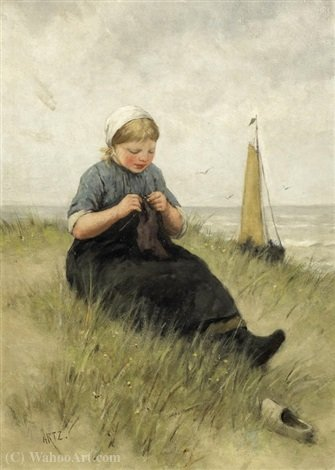 On the dunes by Adolph Artz (David Adolf Constant Artz) (1837-1890, Netherlands)