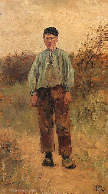 Portrait of a young cowherd by Adolph Artz (David Adolf Constant Artz) (1837-1890, Netherlands)
