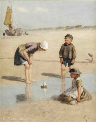 Sailing the toy boat by Adolph Artz (David Adolf Constant Artz) (1837-1890, Netherlands)