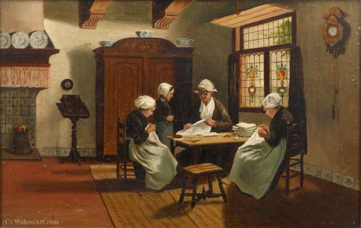 The sewing class by Adolph Artz (David Adolf Constant Artz) (1837-1890, Netherlands)