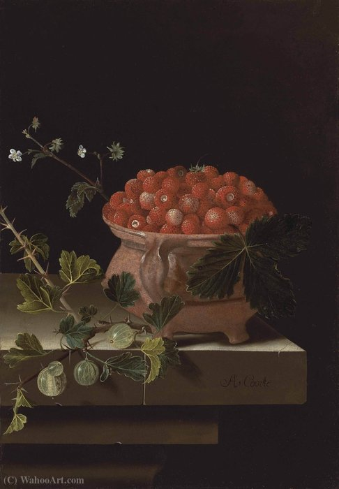 A bowl of strawberries with gooseberries on a stone ledge by Adriaen Coorte (1665-1707, Netherlands)
