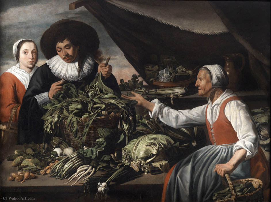 Old vegetable seller by Adriaen Van Utrecht (1599-1652, Belgium) | Painting Copy | ArtsDot.com