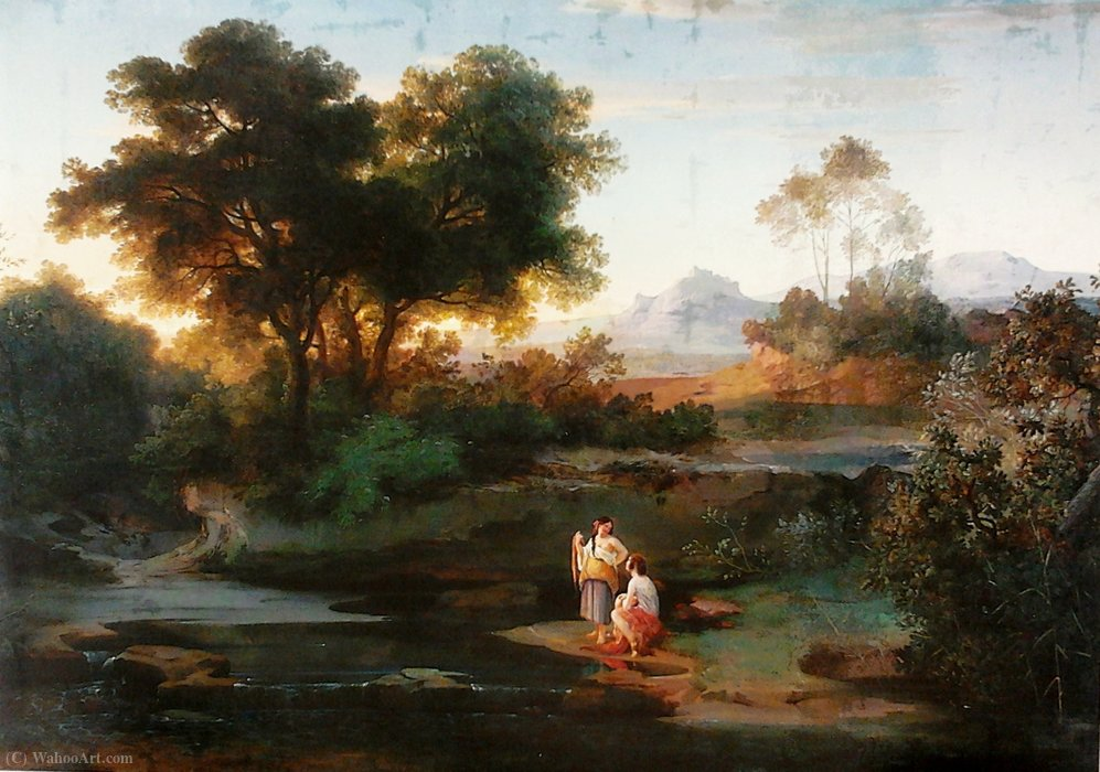 Italian landscape. by Adrian Ludwig Richter (1803-1884, Germany)