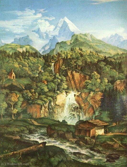the Watzmann by Adrian Ludwig Richter (1803-1884, Germany)