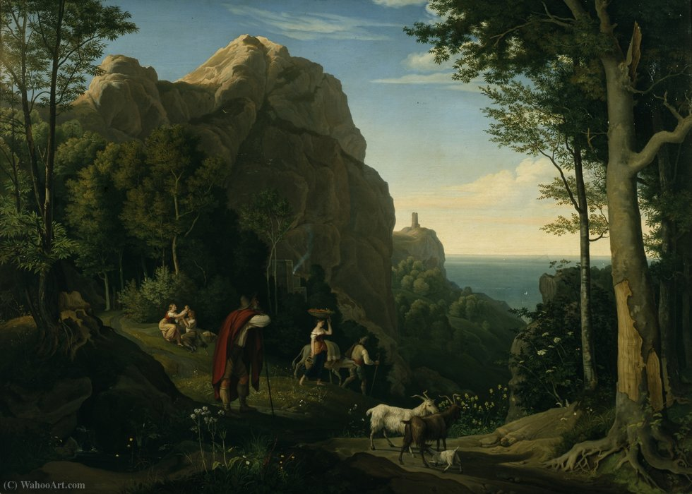 Valley by Amalfi with a view over Salerno Bay by Adrian Ludwig Richter (1803-1884, Germany)