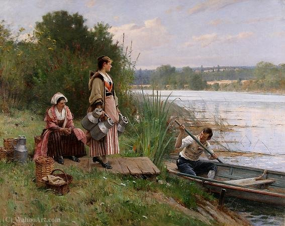 The ferry by Adrien Moreau (1843-1906, France) | Museum Art Reproductions | ArtsDot.com