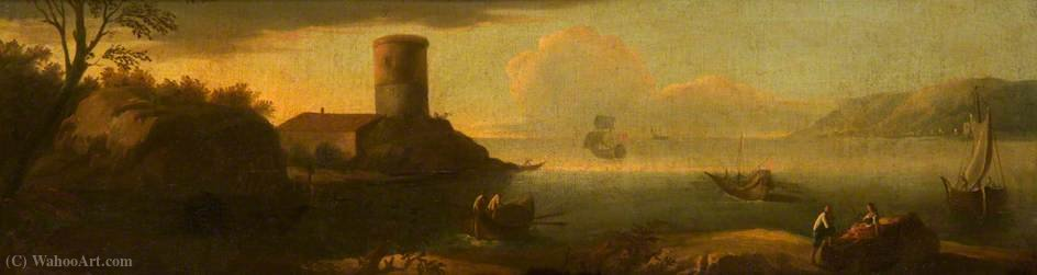Mediterranean Coast with Shipping by Agostino Tassi  (buy Fine Art Art reproduction Agostino Tassi)