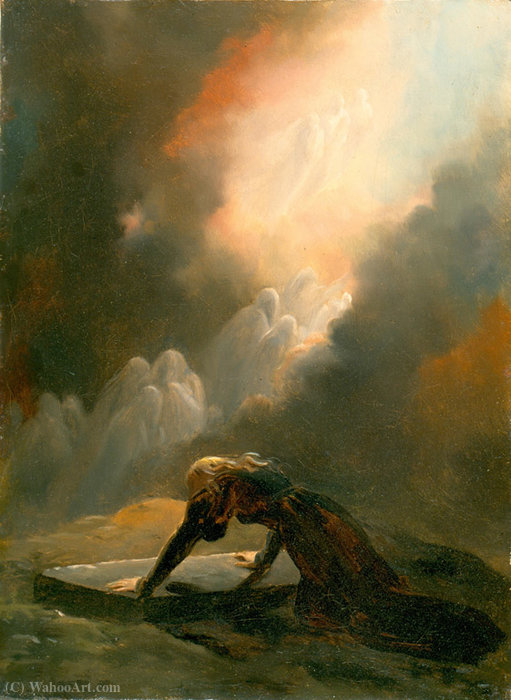 Bradamante at Merlin's Tomb by Alexandre Évariste Fragonard (1780-1850, France)